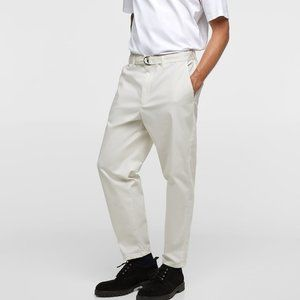 ZARA MAN  NWT WIDE FIT CHINO  Belted Trousers 32